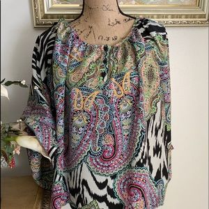 Green Pink multi color dolman sleeve top xl
